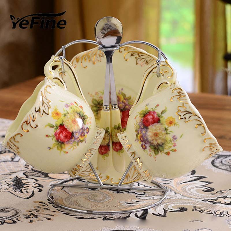 YeFine Ceramic Coffee Cups And Saucers Set Black Tea Cups Ivory Porcelain Couple Teacups With Holder