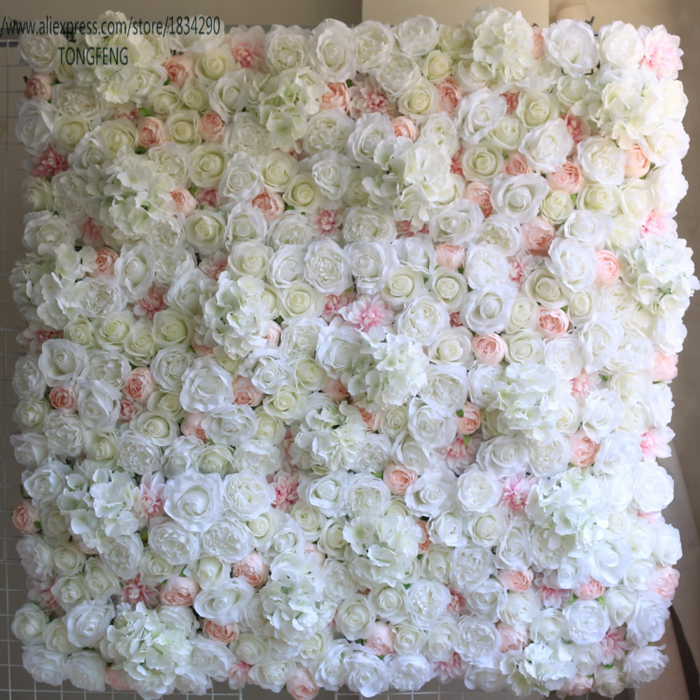 TONGFENG 10pcs lot Mixcolor Wedding 3D flower wall Artificial silk rose peony wedding backdrop decoration flower