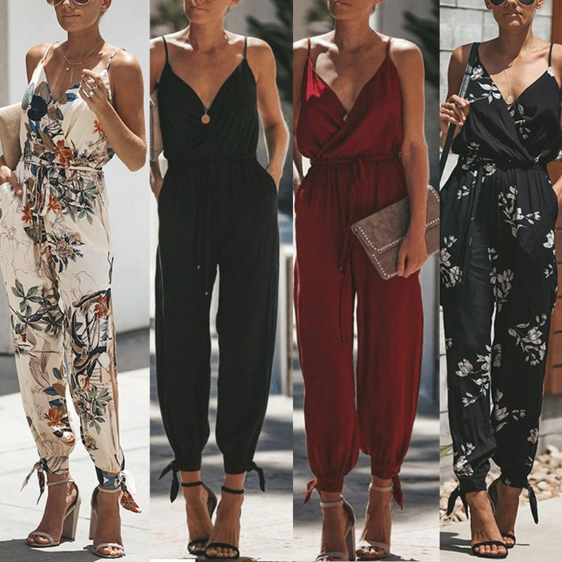 Women Sleeveless Retro Floral Jumpsuit Sexy Wrap V-Neck Drawstring High Waist Rompers Side Split Long Pants Playsuit With Pocket short dresses office wear