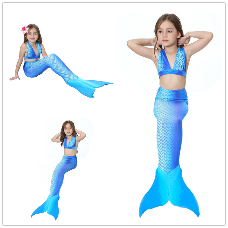 3-12Y Girls Swimsuit 2017 baby girl Pink Mermaid Bikini kids swimming swimwear Mermaid tail Costume Beach Bathing suit 3 Pieces