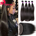 8A Indian Virgin Hair Straight With Closure 13*4 Ear to Ear Lace Frontal Closure With 4Bundles Human Hair Weave With Closure