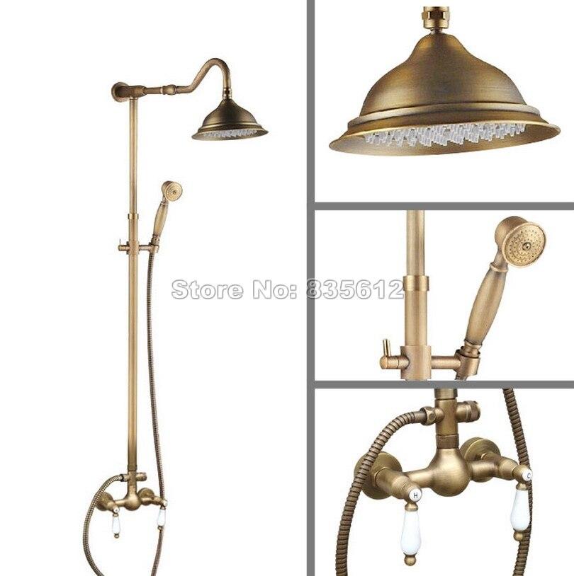 Wall Mounted Antique Brass Shower Head + Dual Ceramic Handles Mixer tap Bathroom Rain Shower Faucet Set with Hand Spray Wan511