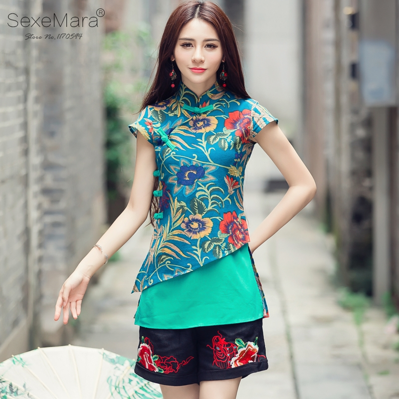 Women's Ethnic Top Traditional Chinese Clothing Vintage Original Designer M 2XL Green Red Print Qipao Patchwork Blouse Shirt #15