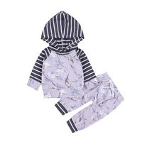 UK Stock 0 24M Newborn Baby Girls Clothes Floral Hooded Tops Long Pants Outfits Toddler Infant