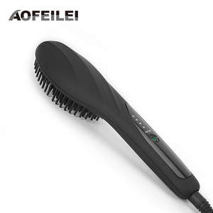Electric black Fast Hair Straightener Comb LCD Display Ceramic Hair Straightening Irons Brush Auto Massager Styling Tools