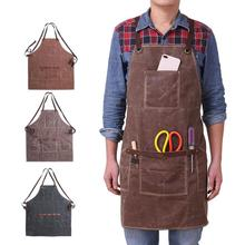 1Pc Waterproof Unisex Waxed Pockets Canvas Apron for Woman Men Chef Waiter Cafe Shop BBQ Hairdresser Woodworking Painting Aprons