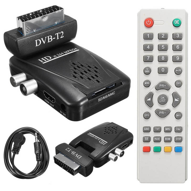 цена 1pc Digital DVB-T2 Scart H.264 1080P HD Terrestrial Receiver TV Box USB SD HDMI IR + Remote Control+IR Cable + EU Power Adapter