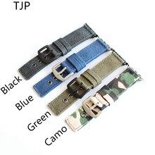 TJP Oferta Especial Pura Lona Verde Negro Azul Camo Deporte Apple Iwatch Reloj 1 2 correas de Reloj 38 MM 42 MM Correa Con adaptador