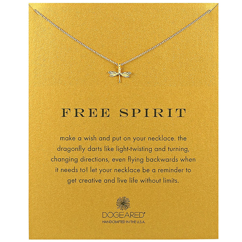 2018 Hot style Gold-color Dragonfly Wings Bug No discoloration Alloy Clavicle Chain Girl Party Gift Pendant Necklace For Women