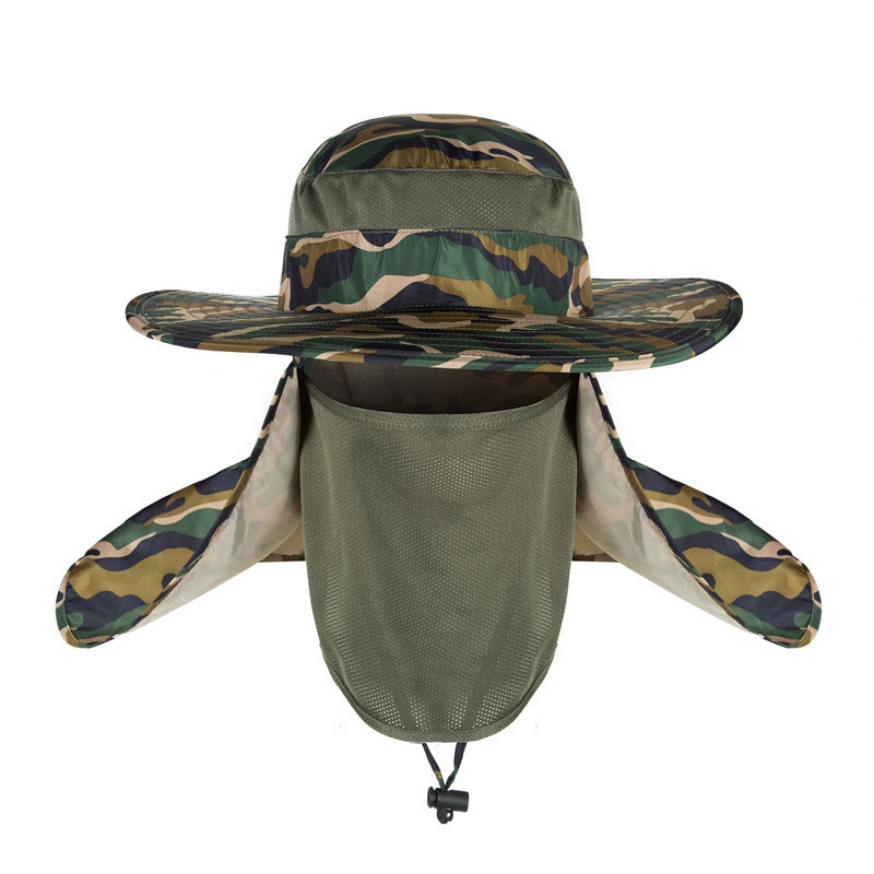 Man Cap Camping Hiking Fishing Ear Flap Sun Neck Cover Visor Camo Army Baseball