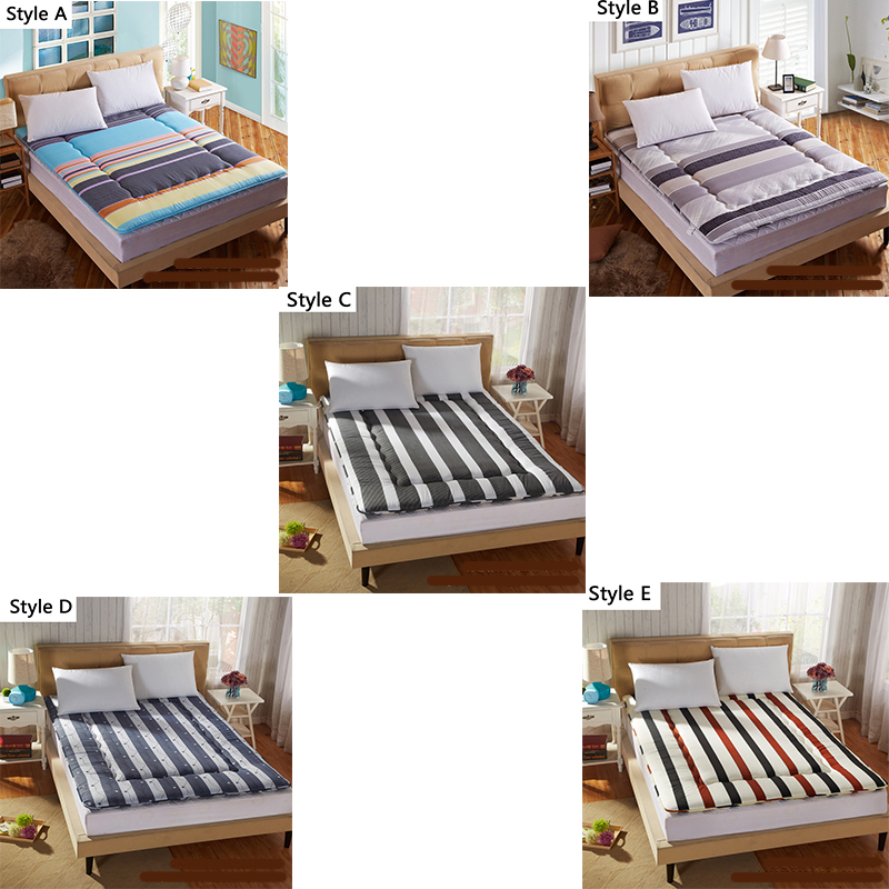 Simple stripes Thick Warm Foldable Single Or Double Mattress Fashion NEW Topper Quilted Bed