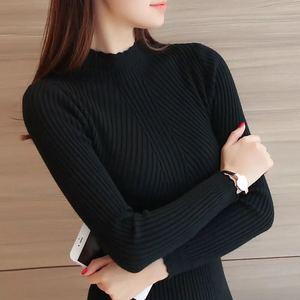 Image 5 - ニットセータータートルネック女性の冬の秋 2018 長袖女性スリム薄型トップス女性のプルオーバープルファム