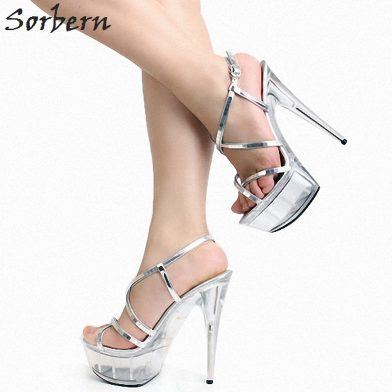 Sorbern Silver Clear Heels Ladies High Heel Shoes Open Toe Summer Sandals For Women Spike Heel Transparent Platform Shoes Ladies stylesowner rabbit fur plush high heel slippers transparent clear slippers clip toe thin high heels shoes ladies shoes for women
