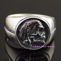 Из чистого серебра 925 тайского серебра череп кольцо
