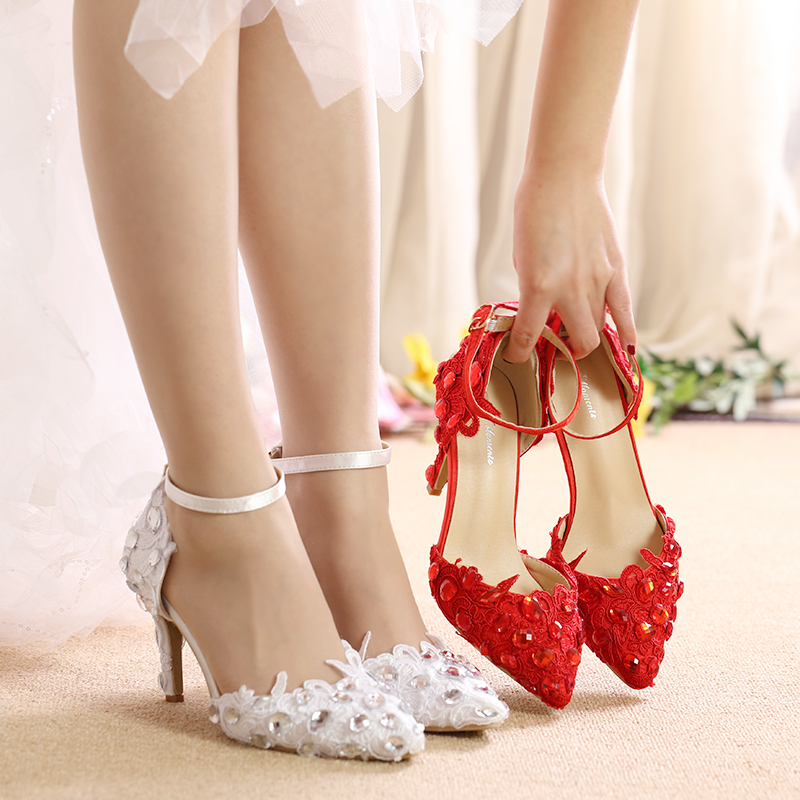 Bride Bridesmaid Wedding Shoes White Pointed Thin Heels