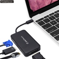 CableDeconn Thunderbolt 3 Hub USB Type c to HDMI DVI DP 4K VGA 1080P MultiPort Cable Adapter for Macbook Pro 2017 Dell XPS Acer