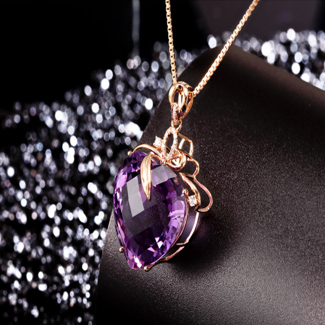 Women Necklace Pendant High Quality Heart Shape Amethyst Pendant Rose Gold Necklace Jewelry Charm Wedding Party Fine Jewelry 4