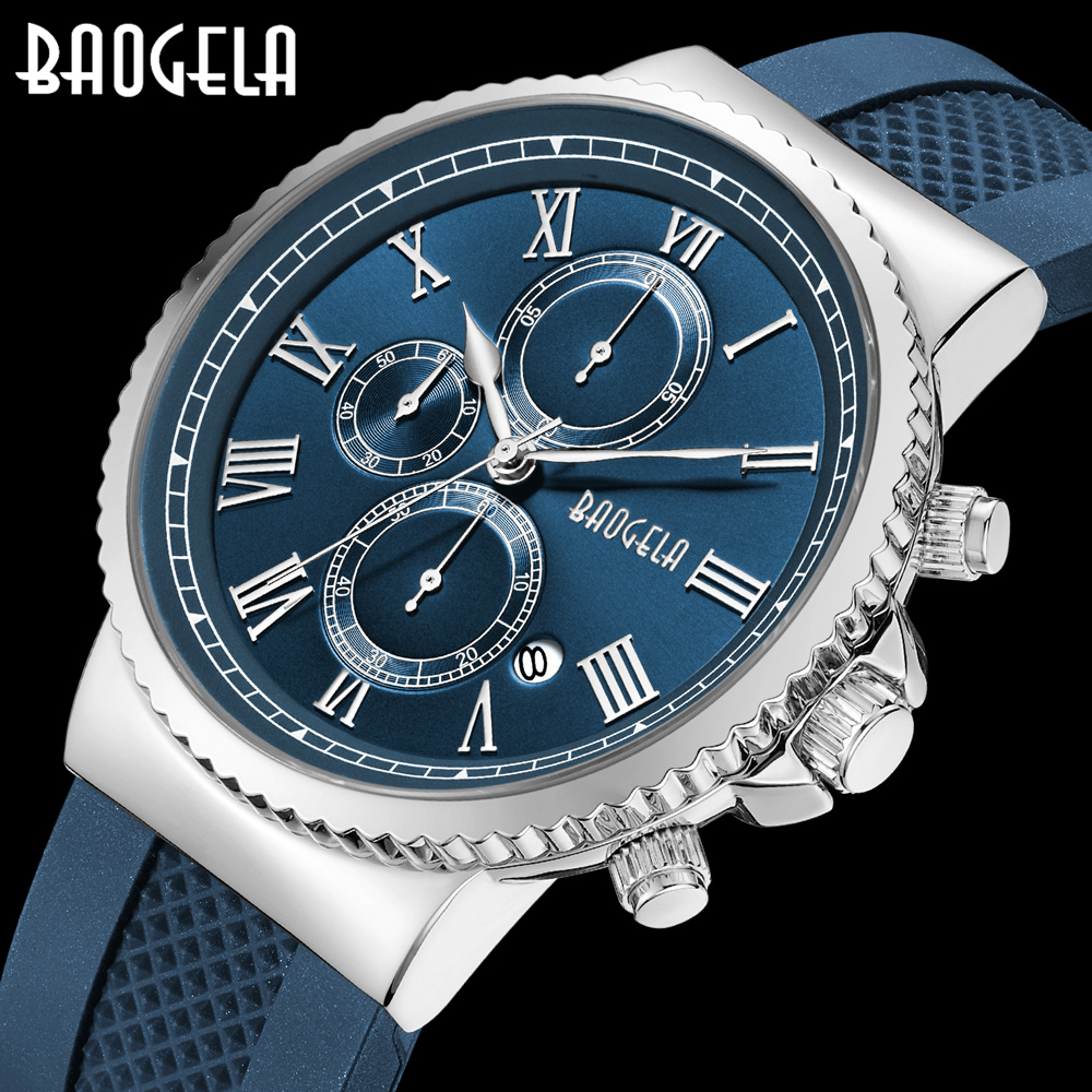 BAOGELA Men Quartz Watches Top Brand Luxury Man Casual Sport Watch Mens Multifunction Waterproof Wristwatch Relogio Masculino mens watch top luxury brand fashion hollow clock male casual sport wristwatch men pirate skull style quartz watch reloj homber