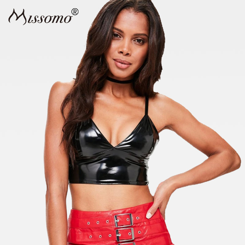 Missomo Black Sexy PU Bra Women Push Up Wire Free Zipper Casual Bralettes Female Adjustable Straps Fashion Underwears Lady