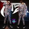 Печать рисунок тонкий костюмы ночной клуб певец кокс пиджак с брюками и сценическое шоу носить костюмы
