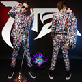 Printing Pattern Slim Suits Nightclub Male Male Singer  Coke  Blazer With Pants Stage Show Wear Costumes
