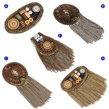 Shoulder Board Metal Badge Clothing Jewelry Decoration Handmade Military Epaulet Tassel Chain Fashion Brooch Pin