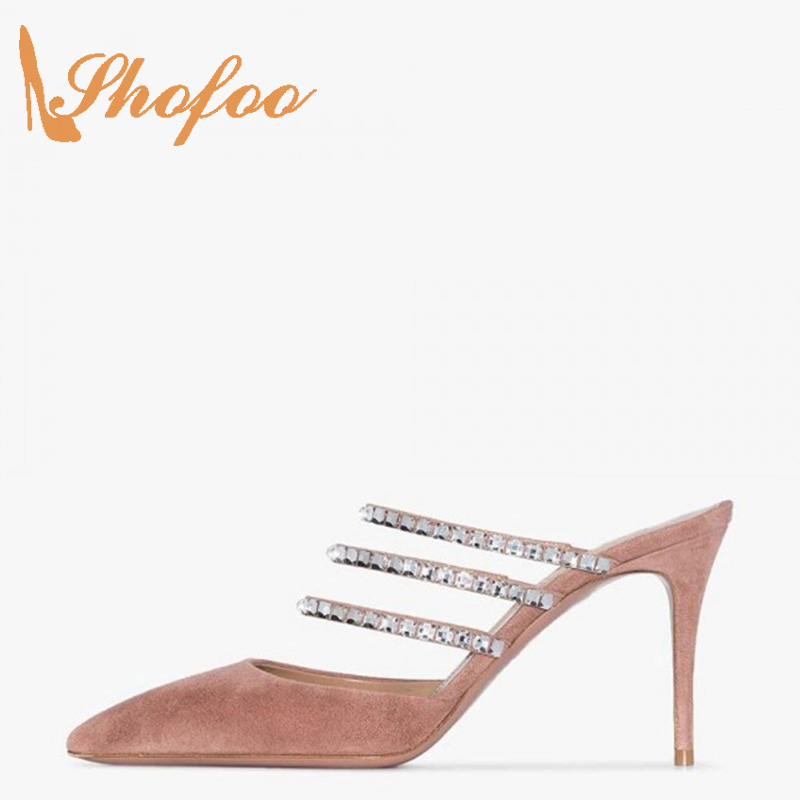 Pink Crystal Sandals Women Basic Outside Slippers Stilettos Slides Shoes Pointed Toe High Thin Heels Mature Large Size 10 15