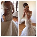 New Fashionable Lace Mermaid Wedding Dress 2017 Sexy Off the Shoulder Sheer Appliques Beading Cap Sleeve 2016 Vestido De Noiva