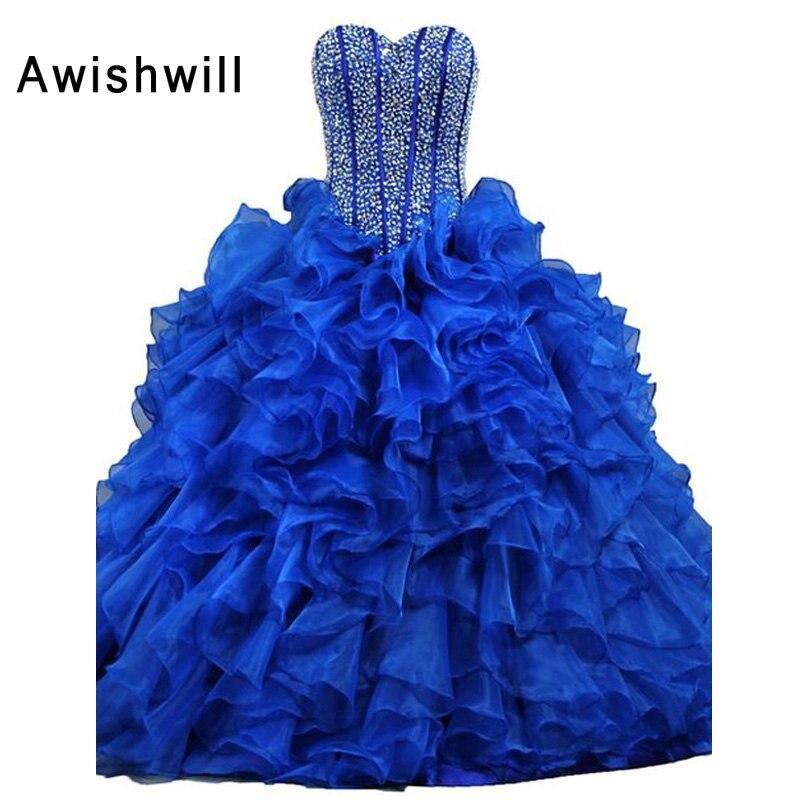 Nouveau élégant chérie perlée volants princesse populaire Debutante robe bleu Quinceanera robes 2019 pas cher Quinceanera robes
