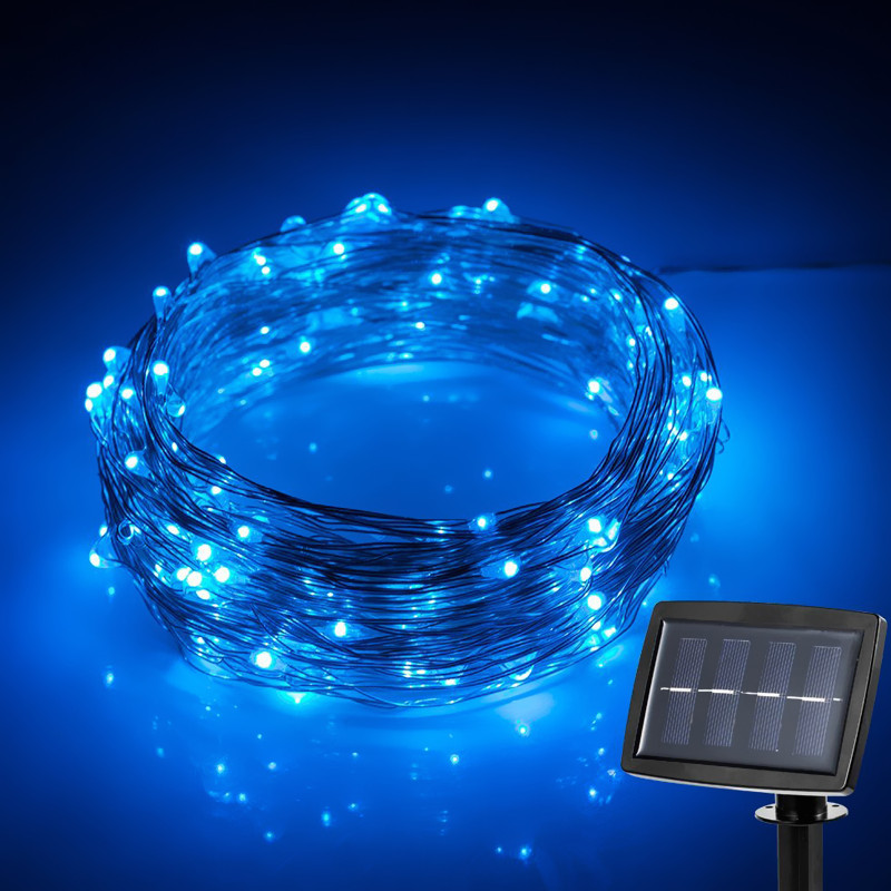 10M 100LED Solar Powered LED Kobber String Lights for Gardens, Homes, - Ferie belysning - Bilde 2
