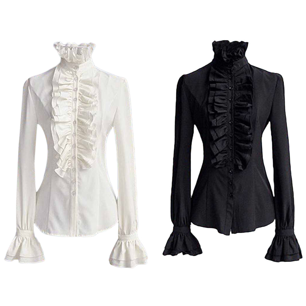 Shirt Womens Tops And Blouses Lace Tie Ruffled Collar Blouse Ladies Tops Clothes Vintage Gothic Blouse Shirts Blusa Feminina