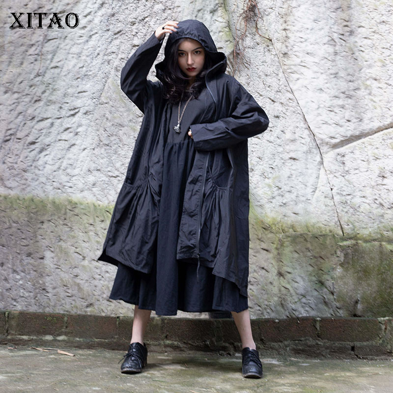 [XITAO] 2019 Spring New Korea Fashion Women Hooded Collar Full Sleeve Loose Coat Female Solid Color A-line Long Trench  WBB2562