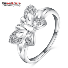 LZESHINE 2016 Latest Fashion Promise Rings for Women Silver Plated Romantic Butterfly Shape Knuckle Rings CRI0100-B