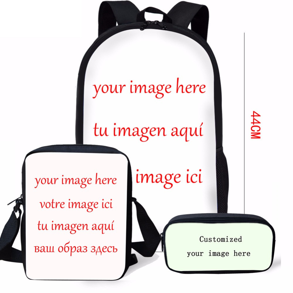 ELVISWORDS 3PCS/Set Boys Girls School Bag for Girls Children Customized Kids Schoolbags for Students Mochilas Daypack Bookbag