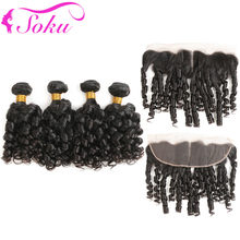 Bouncy Curly Human Hair Bundles With Frontal 13x4 SOKU Natural Color Brazilian 4 Bundles With Lace Frontal Non-Remy Hair Weaves(China)