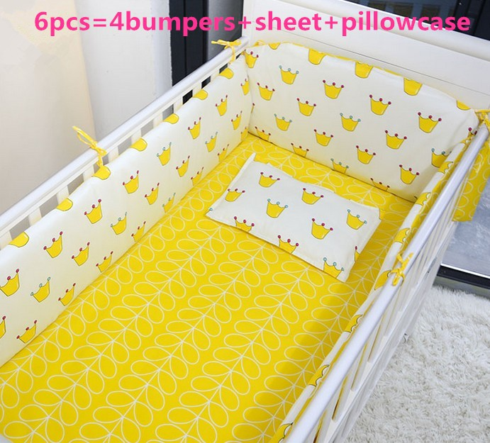 Promotion! 6PCS baby bedding set 100% cotton crib bed set baby bed linen , include:(bumper+sheet+pillow cover)