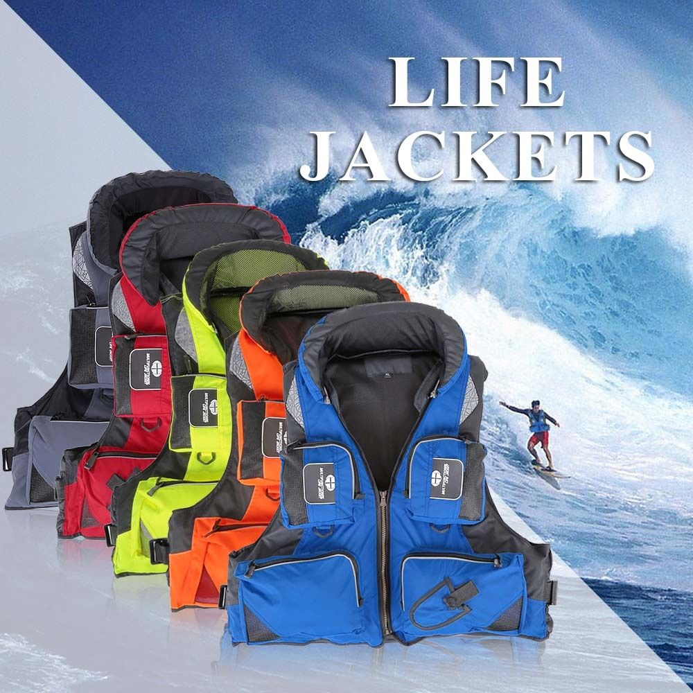 men Hooded fishing clothes life vest life jacket 5 colors L-XXL sea Adult-Adjustable-Safety-Life-Jacket-Survival-Vest-Swimming adjustable pro safety equestrian horse riding vest eva padded body protector s m l xl xxl for men kids women camping hiking