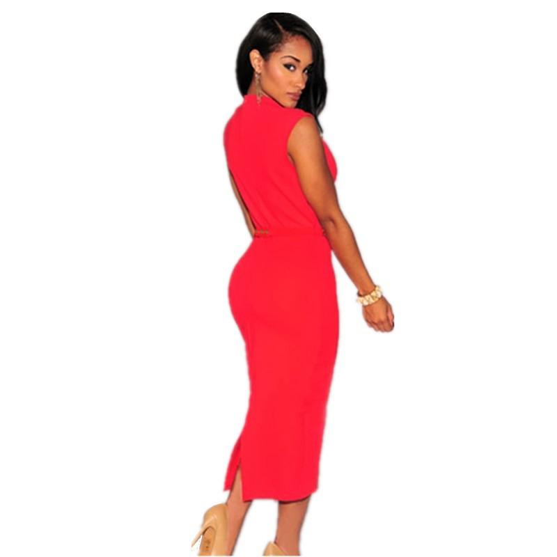 Bodycon Knee Length Midi Dress 4