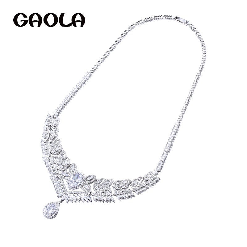 GAOLA New Arrival Luxury Clear Cubic Zirconia Flower Necklace Pendants for Women Fashion Jewelry GLN0348 retro style flower pendants necklace for women