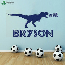 YOYOYU Wall Decal Personalized Dinosaur Name Stickers Kids Room Boys Bedroom Vinyl Art Mural Forest Park Theme QQ309