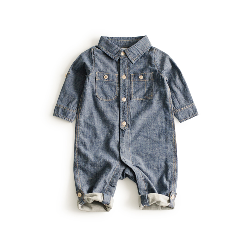 Fashion Jeans Sailor collar Baby clothes cowboy blue baby jumpsuit wood button baby clothing Top newborn baby boy clothes цена