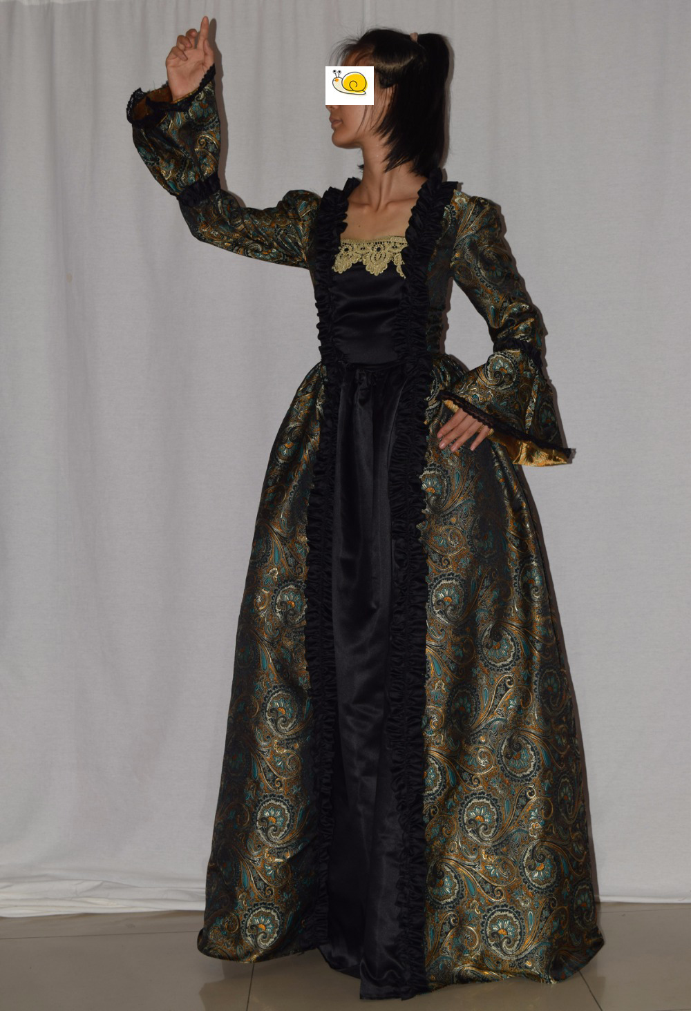 Fantasy Gothic Victorian Gown victorian ball gown Period Long Train Costume
