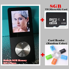 цена на Sport Music HIFI MP3 MP4 Player 100% Built-in 8GB Memory 1.8 LCD Media Video Movie FM,with TF/SD Slot,+8GB TF/SD+Card Reader