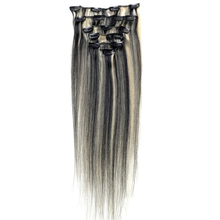 Best Sale Women Human Hair Clip In Hair Extensions 7pcs 70g 15inch Black + gold-brown