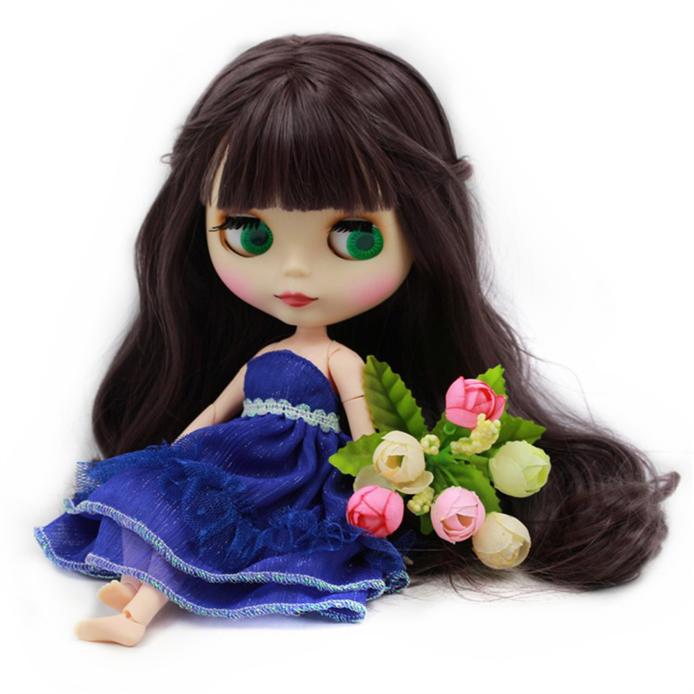 Blyth Doll Nude White Skin Deep Purple Long Wavy Hair With Bangs Matte Face Joint Body