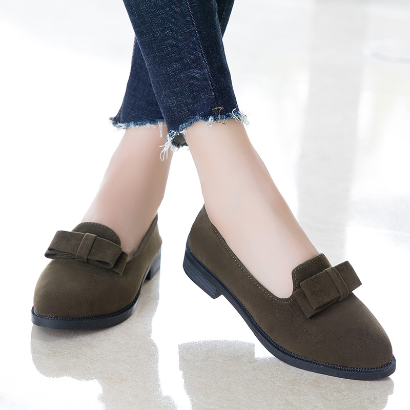 Women Shoes Suede Leather Bow Flats Woman Loafers New Spring Autumn Casual Flat Shoes Women Mujer Zapatos Lady Shoes Size 35-40 west scarp mujer shoes fashion summer flats loafers women leather shoes daily casual woman shoes spring autumn sapato feminino