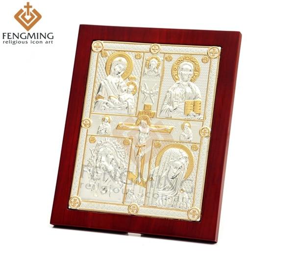 Očarljiva bizantinska verska umetnost križni križ in štiri Jezus - Dekor za dom - Fotografija 1