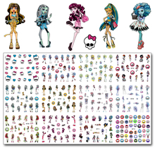 12 ark / Lot Nagel MT01-12 Tegneserie Skull Monster Pet Nail Art Vann Decal Sticker For High Quality Nail Tattoo (12 DESIGN IN 1)