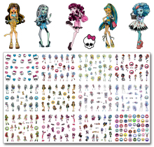 12 Sheets/Lot Nail MT01-12 Cartoon Skull Monster Pet Art Water Decal Sticker For High Quality Tattoo (12 DESIGNS IN 1)