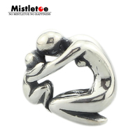 Genuine 925 Sterling Silver Maternity Mother And Baby Charm Beads Fit European Troll 3 Mm Bracelet
